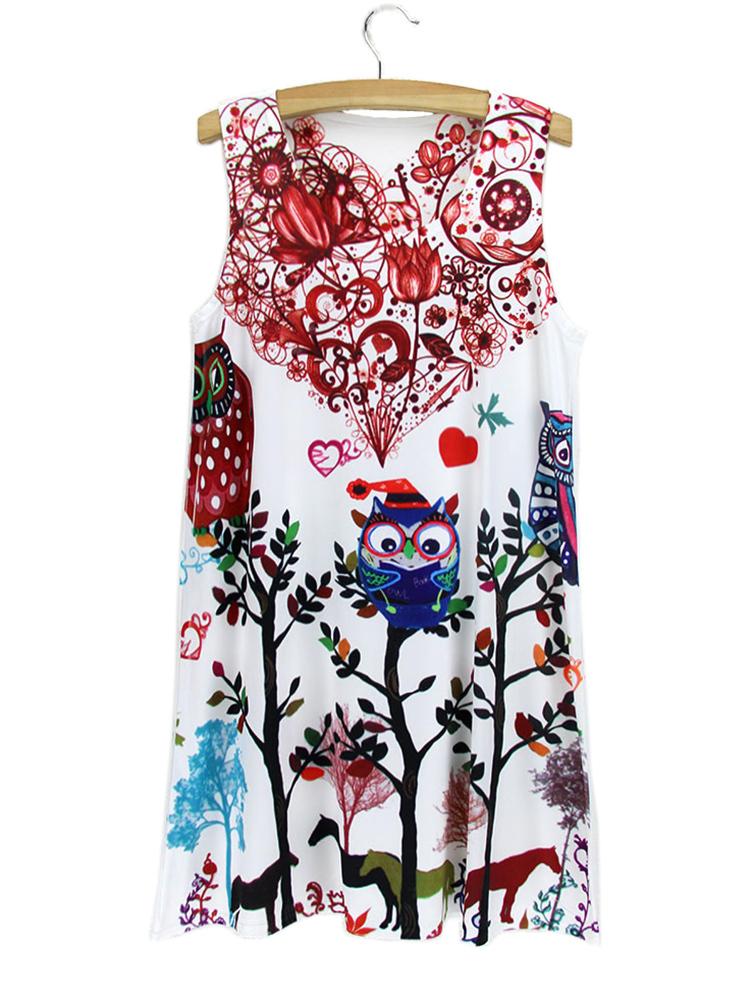 2015 New summer dress Vintage fashion Women Lady Girl Sleeveless Owl Graphic Printed Short Mini Dresses Printing(China (Mainland))