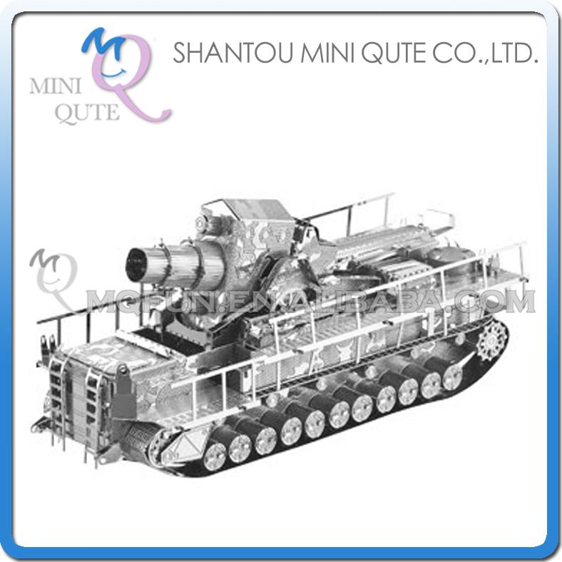 Mini Qute 3D Metal Puzzle Silver Railway Gun Tank warcraft military Adult kids model educational toys gift NO.I22213-2 - Flying Fairy Flagship Store store