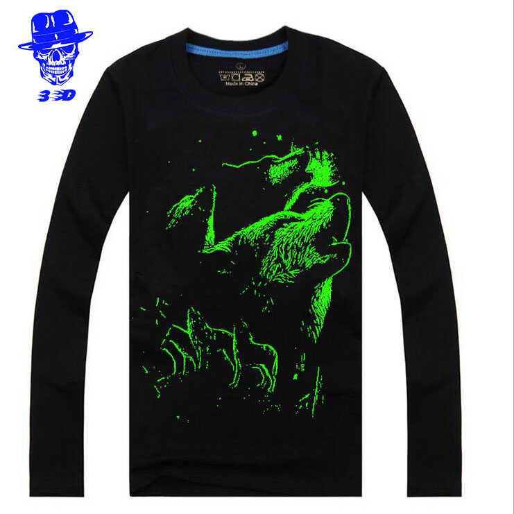 Autumn Animal Tiger Wolf Luminous Fluorescence T Shirt HQ Men Long Sleeve Tees 3D Fashion O Neck T-shirt Game High Quality(China (Mainland))