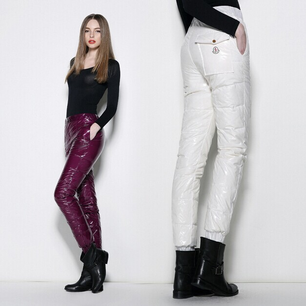 Winter Women' Thick Pants Fashion Glossy Waterproof Windproof Warm Plus Size Pencil Full Length - Flora Vogue Apparel Co.,Ltd store
