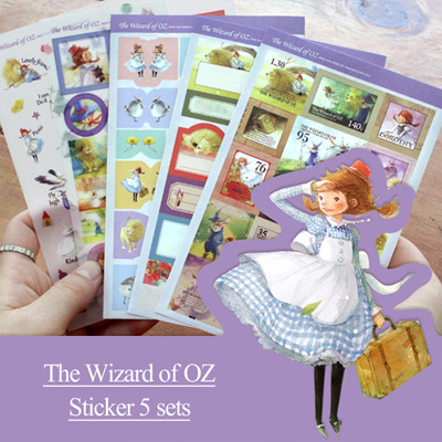 5 sheets/1 set New kawaii scrapbooking stickers The Wizard of OZ Decoration label stickers/sticky note/stationery/indigo<br><br>Aliexpress