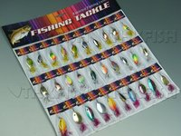 With Feather! 30X Fishing Spinner Spoon Assorted Fishing Lures On Card Baits Tools