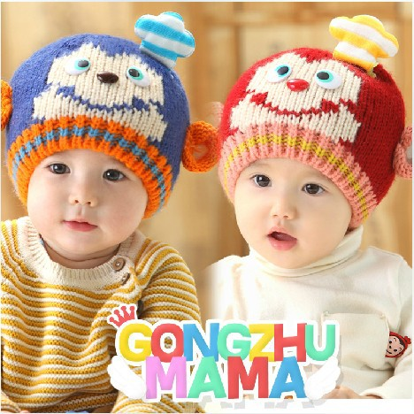 In autumn and winter and baby children chef hat cartoon monkey head cap tab wool hat(China (Mainland))