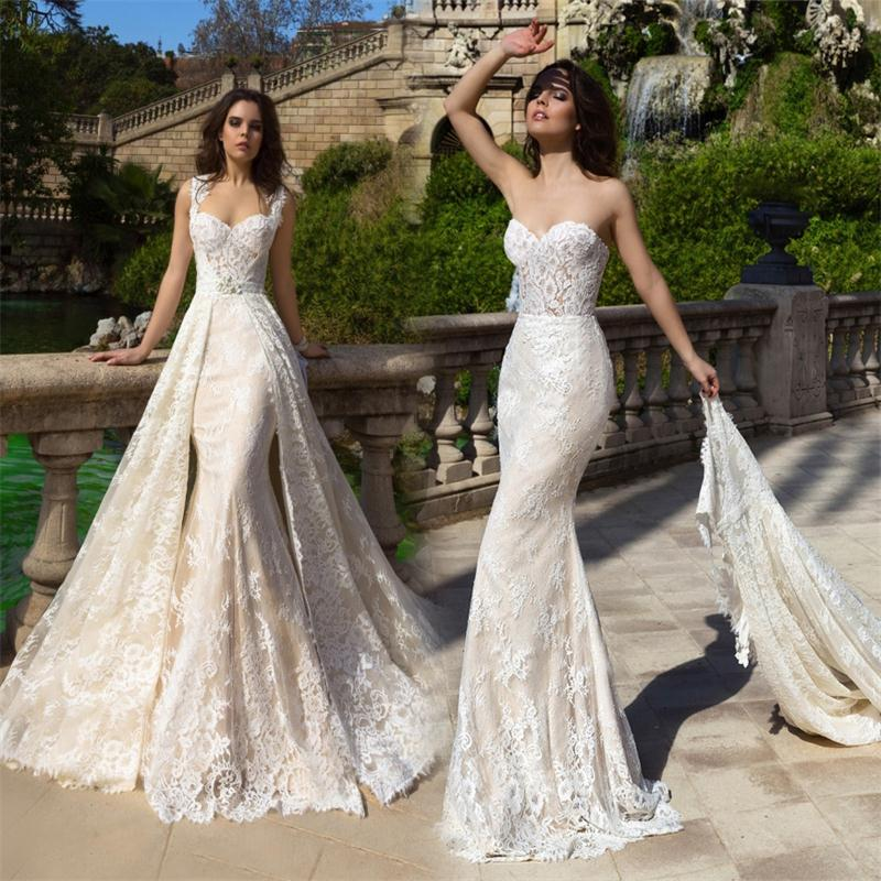 Robe de mariee 2017 new champagne mermaid wedding dresses for Detachable train wedding dress