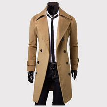 New Fashion Stylish Men's Trench Coat Winter Jacket ,Double Breasted Coat Overcoat woolen Outerwear Long jaqueta M-XXXL(China (Mainland))
