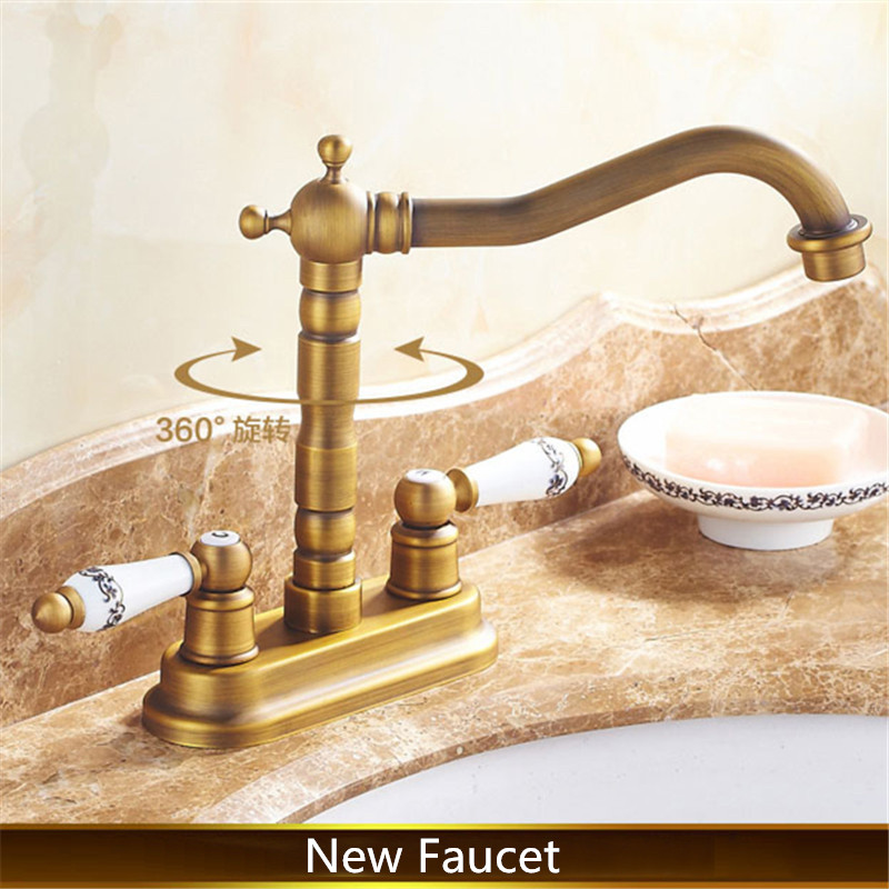 New Free Shipping Antique Bathroom Faucet Ceramics Handle Valve 2 Holes Sink Mixer Tap Hot And Cold Basin Faucet Deck Mounted(China (Mainland))