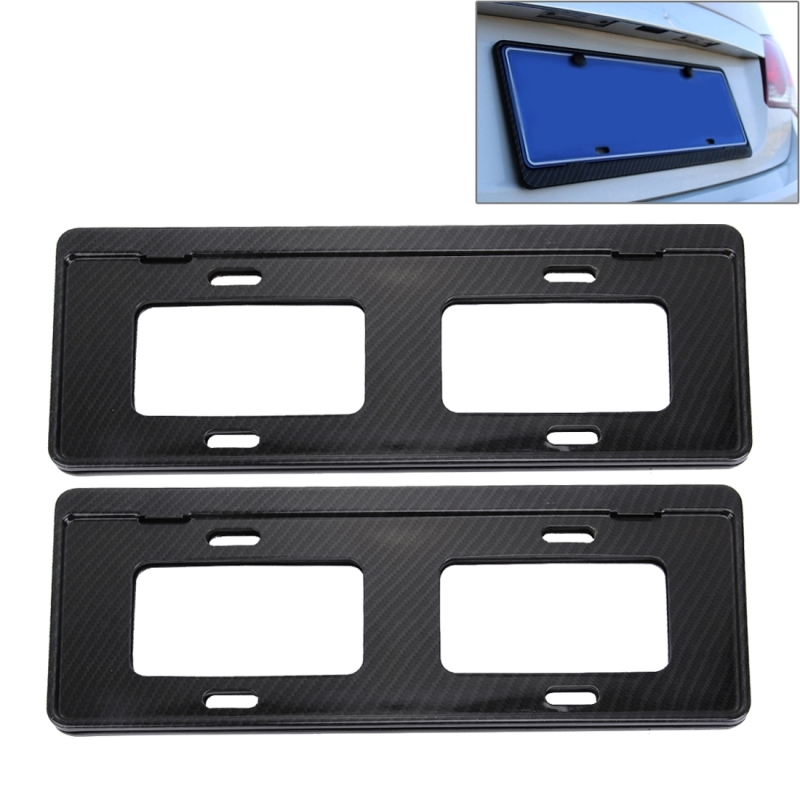 2 PCS Car License Plate Carbon Fiber Bracket Frame Holder Stand Mount Black license plate covers frames Free Shipping(China (Mainland))