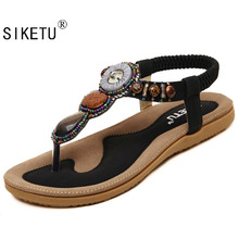 SIKETU 2017 New Korean Comfort big size EU42-45 Women Sandals Bohemian Beaded Clip Toe Flat Shoes Sandals Shoes Student Shoes(China (Mainland))