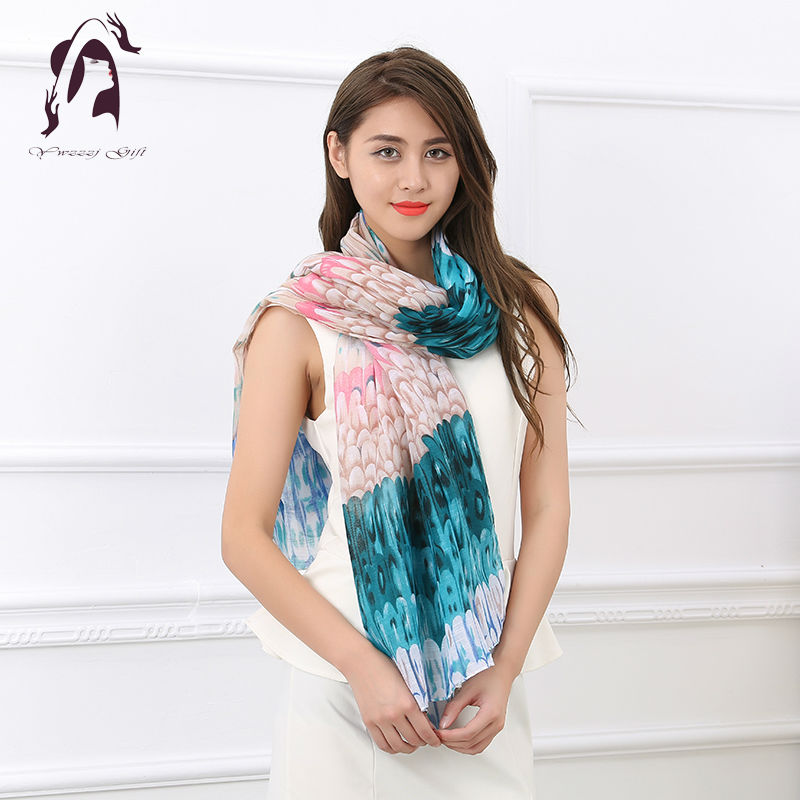 [YWJUNFU] 2017 Feather Type Soft Cotton Shawls Wraps Women 5Colors 180*90cm Long Silk Scarf Holiday Girls ZS0009(China (Mainland))