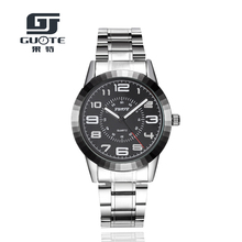 Brand GUOTE Men's Watch Luminous Hours Clock Stainless Steel Luxury Casual Quartz Watch Men Sports Watches Male Relogio 1026