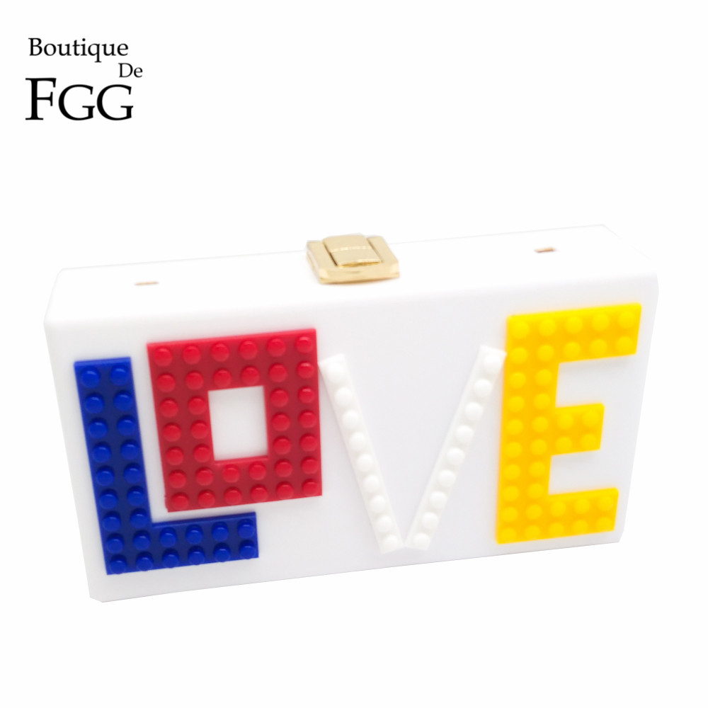Women LOVE Letters Acrylic Clutch Bag Brand Design Wedding Party Prom Purse Ladies Hard Case Evening Clutches Shoulder Handbag(China (Mainland))