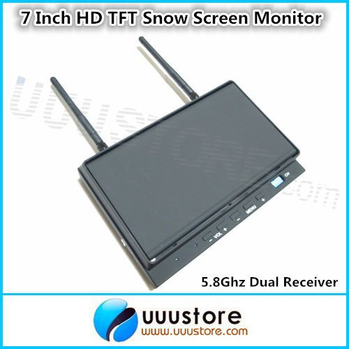 Skyzone Sky-702 FPV 7 Inch HD TFT Snow Screen Monitor with 5.8Ghz 32 Channels Diversity Dual Receiver and Folding Sunshade(China (Mainland))