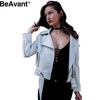 Bevant Oversized collar leather suede jacket coat Belted motorcycle jacket Short winter jacket 2016 zipper basic jacket outwear