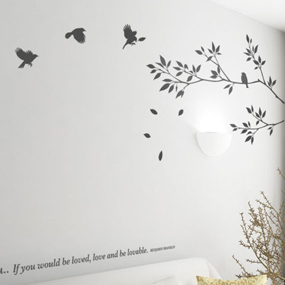 2015 New design art home decoration waterproof and removeable pvc birds Wall Stickers decals for living room(China (Mainland))
