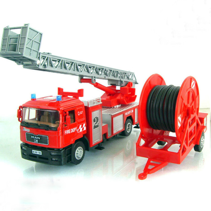 Man Truck Model Scale Model 1:40 Fire Ladder Truck With Water Pipe Alloy Diecast Metal Car Model Display Collection Kid Toys(China (Mainland))