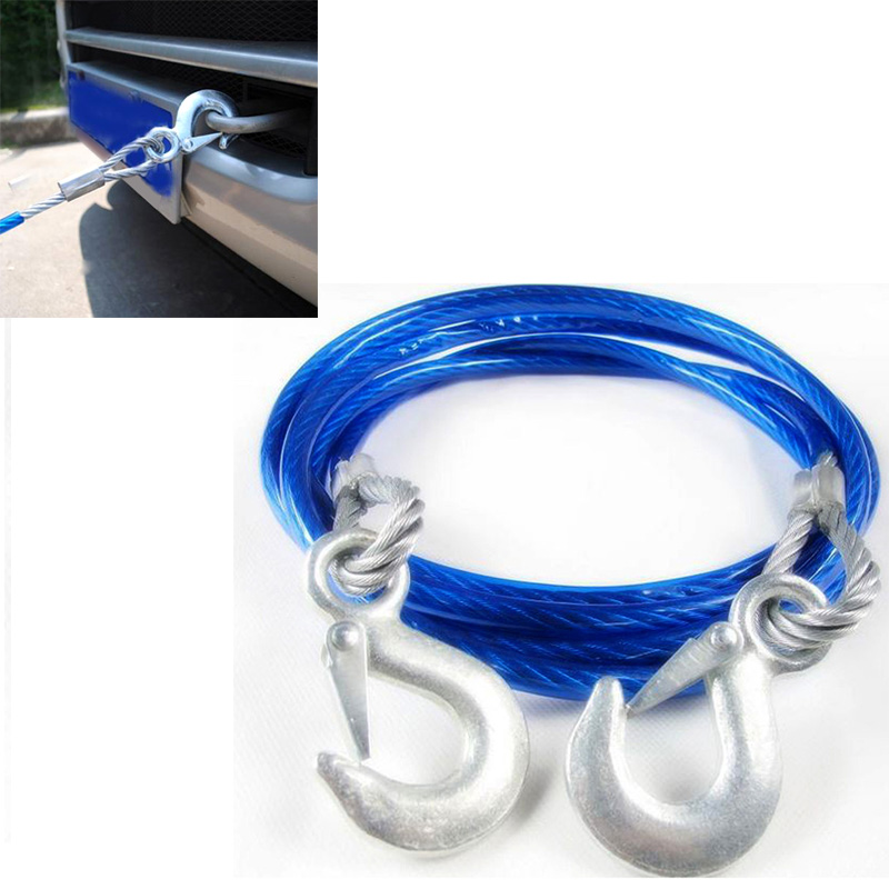 5 Ton 4m Car Vehicle Boat Steel Wire Tow Rope Towing Strap Rope With Hook(China (Mainland))
