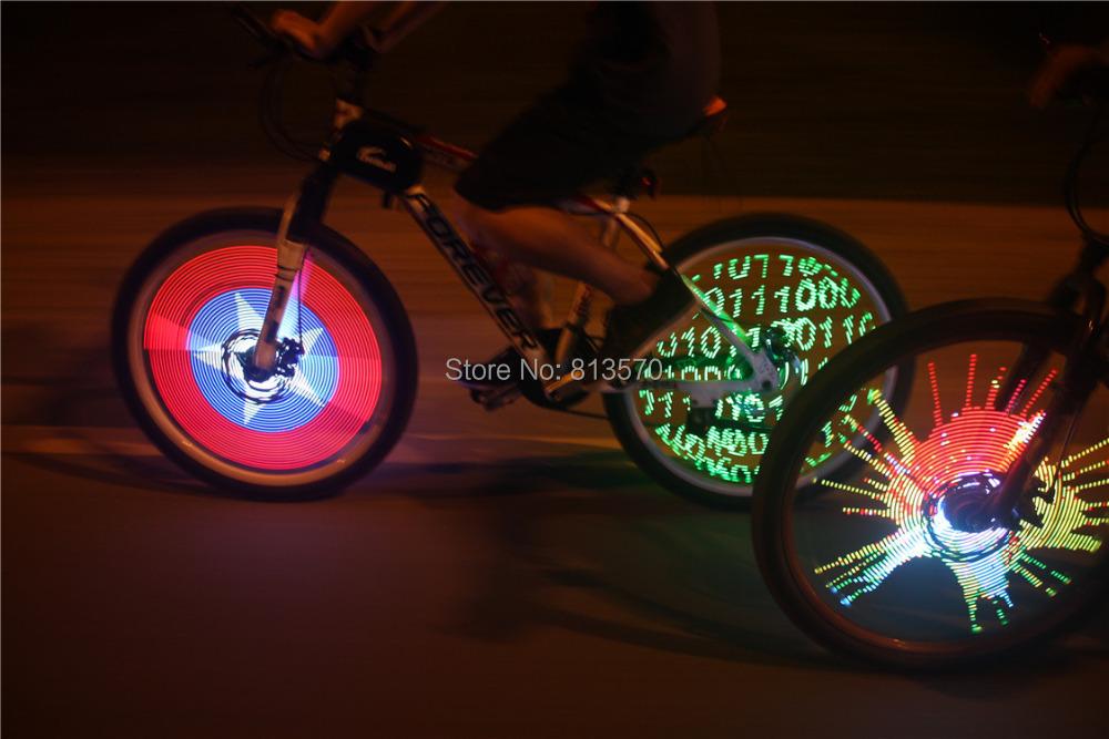 Fantastic DIY programmable bicycle bike lights tire wheel light 128 cree LED double sided spoke screen display image monkey - E-Link(HK storeCo.,LTD)