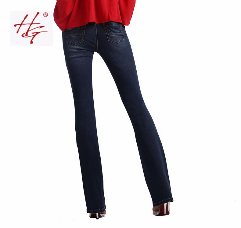 Hg бренд w03 2015 женщины вспышки джинсы в стиле ретро клеш узкие джинсы женские синий твердые широкого покроя джинсовые брюки барышня