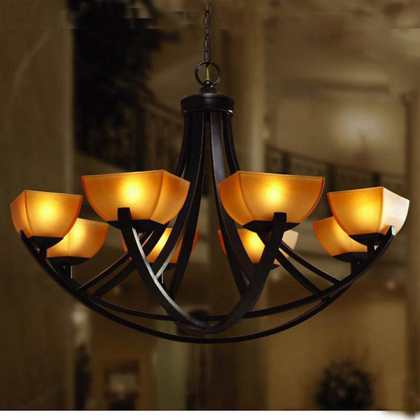 Quality american style pendant light fashion pendant light living room pendant light chinese style antique iron lamp 8 lamps(China (Mainland))