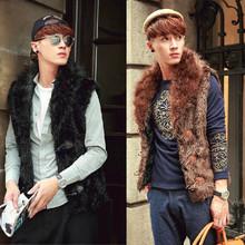 Men Fur Vest Snow Warm Sleeveless Jacket Brand Design Winter Waistcoat Fashion Casual New Style Horn Button Slim Overcoat D1047(China (Mainland))