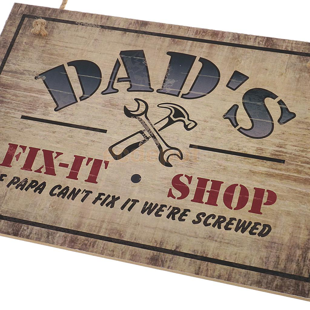 Funny Signs DAD\`S IF PAPA CAN\`T FIX IT WE ARE SCREWED Wooden Plaque Signs Gift for Father\`s Day and Birthday