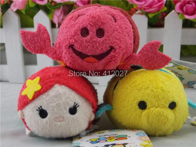 D I S N E Y Store Tsum Tsum The Little Mermaid:Ariel Flounder Sebastian Plush Toy Set Of 3(China (Mainland))