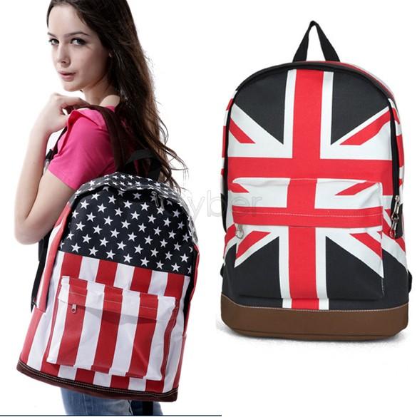 2014 New Fashion Korean Style Unisex Punk School Book Campus Packbag UK/USA Flag Canvas Backpack Casual Shoulder Bag 51