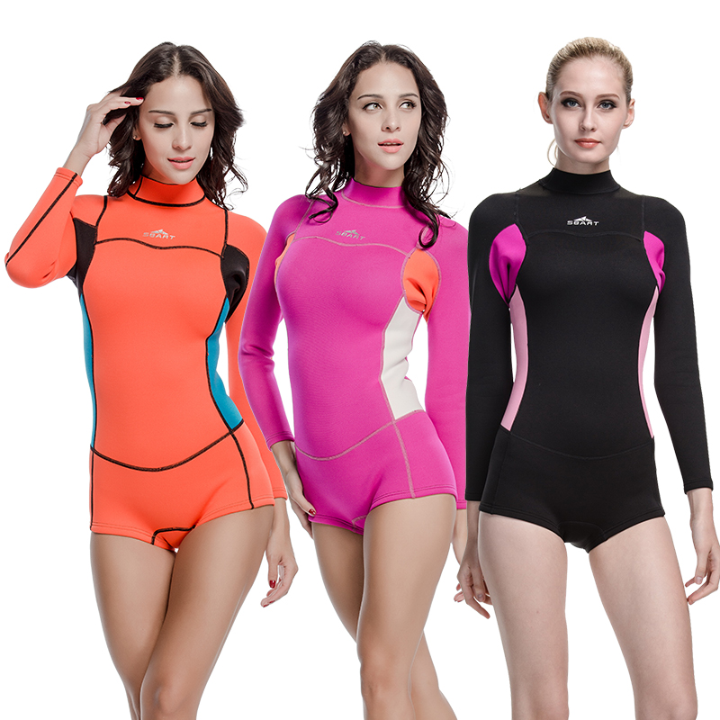 SBART New Style Neoprene Wetsuit Women 2MM Surfing Wetsuits One Piece Swimming Snorkeling Diving Wet Suit Long Sleeve 2015 P812(China (Mainland))