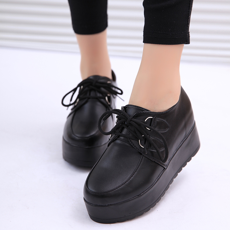 Harajuku Black And White Vintage Platform Shoes Fashion British Style Women 39 S Shoes Platform