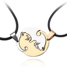 1 par de aço inoxidável colar corrente kitty gato abraçar pingente para mulheres amantes casal jóias presentes do dia dos namorados(China)