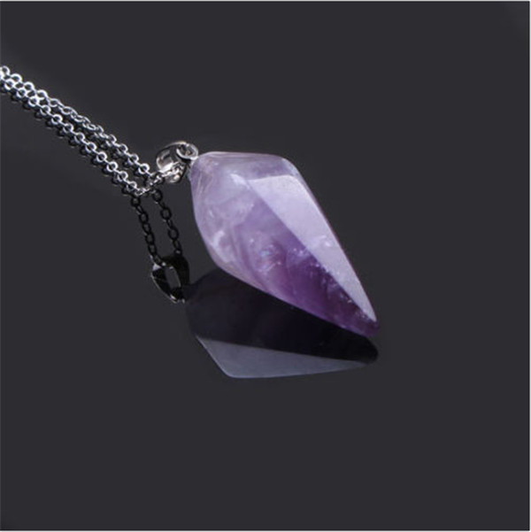 Brand Natural Crystal Pendant Reiki Healing Amethyst Stone Beads Pillar Women Men Unisex Energy Necklace Lucky Jewelry - fengerone store