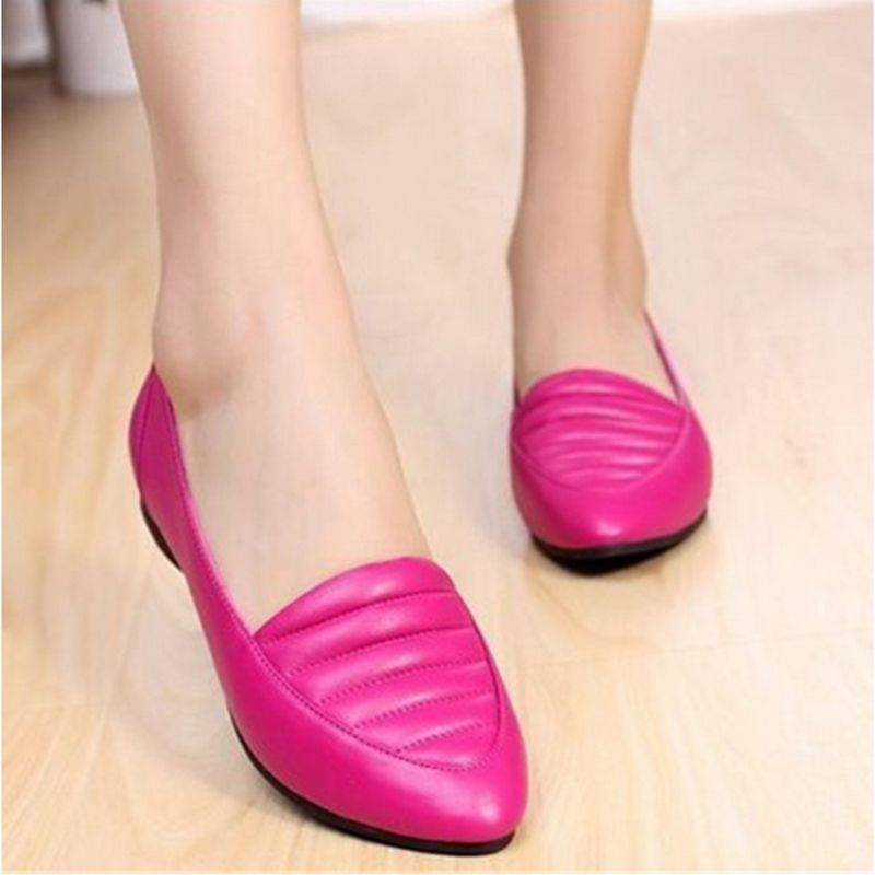 Full grain leather casual flat loafers shoes propriate for work drive pregnant women the elderly and