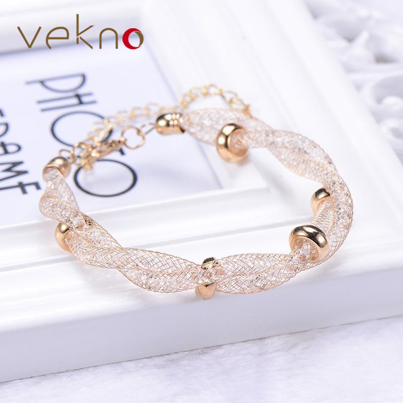 Trendy Style Zirconia Diamond Stardust Bracelets For Women 3 Color Beads Double Layer Twist Mesh Charm Bracelet Femme Bijoux(China (Mainland))