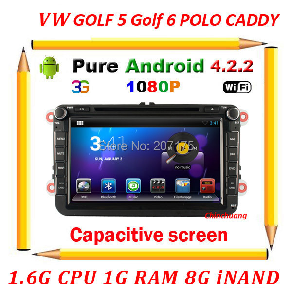 Pure Android 4.2.2 Car dvd gps for VW GOLF 6 polo Bora JETTA MK4 B6 PASSAT Tiguan OCTAVIA with Radio 3G wifi Capacitive Screen(China (Mainland))