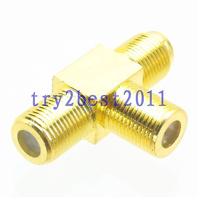 1pce Adapter connector F TV jack pin to 2x F TV jack pin T Splitter Gold COAXIAL(China (Mainland))