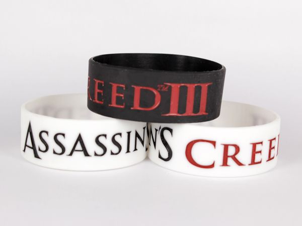 500 pcs Assassin's Creed III / Video Game / Silicone bracelet/ Silicone band/ silicone wrist band/ wristband, free shipping(China (Mainland))