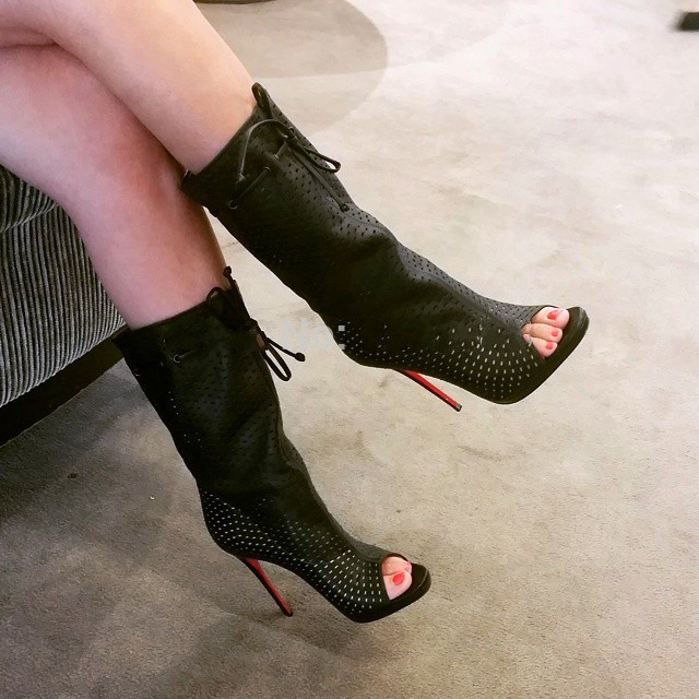 Women Brand Boots Autumn Summer Perforated Black White Red Blue Orange Boot Fashion Mid-calf Lace Up High Heels Peep Toe Booties<br><br>Aliexpress