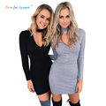 2016 Autumn sexy halter knitted dress Women winter elegant bodycon dress Casual black short sweater dresses