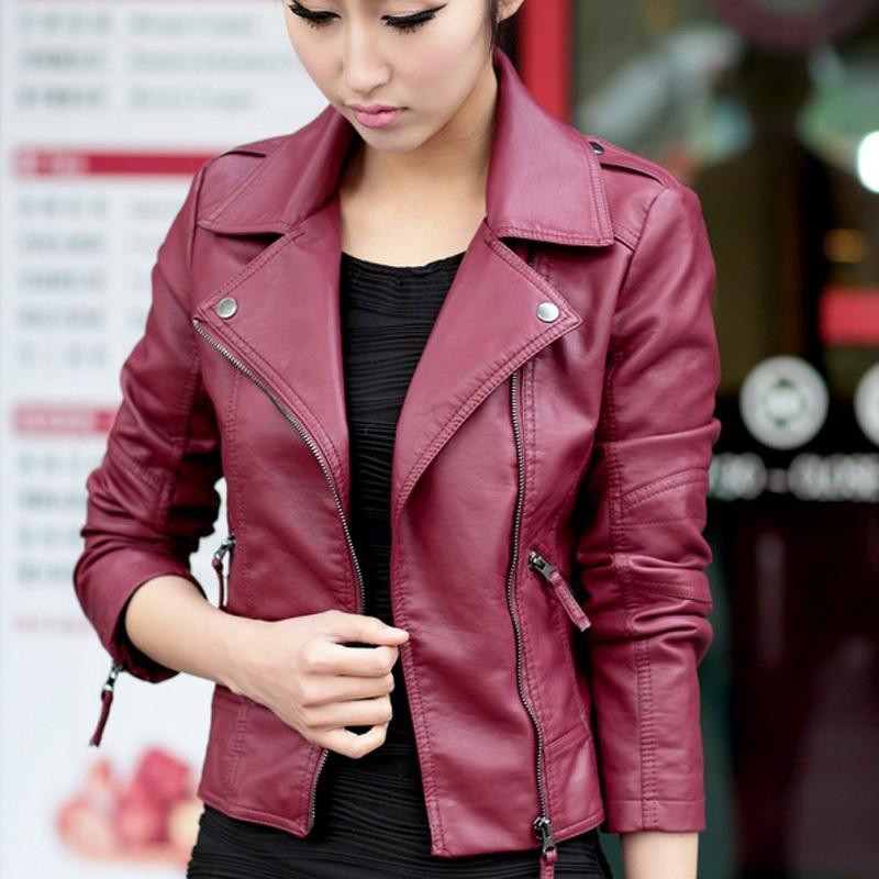 2015 New Spring Women Leather Jacket Red Black PU Plus Size Jackets KB620(China (Mainland))