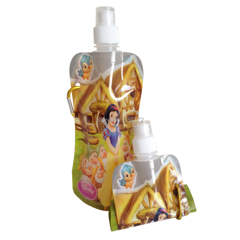 Top-rated 10pcs/lot 450ml Gourd Shape Cartoon Princess Sport Collapsible Water Bag Foldable Water Bottle Kids Gifts(China (Mainland))