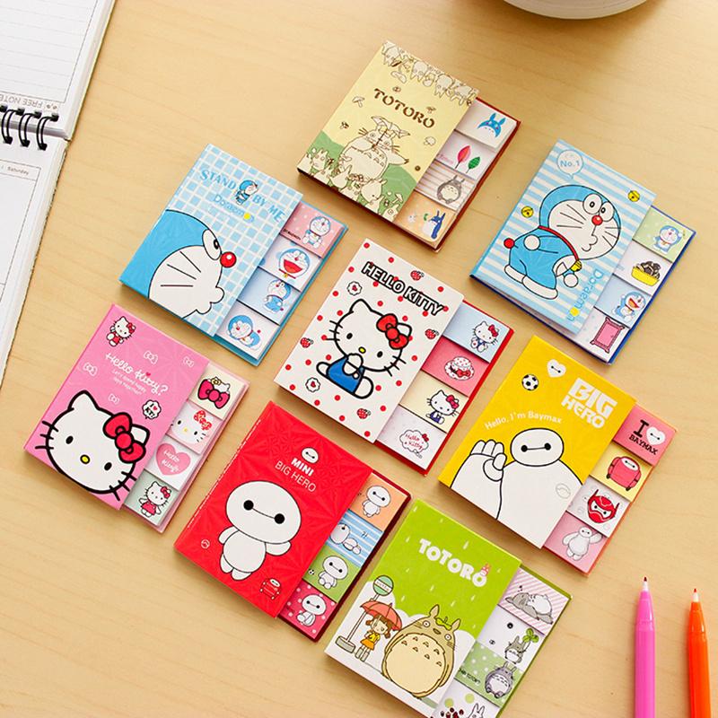 Гаджет  4 pcs/Lot Folding cartoon memo pad Cute Kitty Doraemon Baymax totoro sticky notes Post it bookmark Office School supplies 6565 None Офисные и Школьные принадлежности