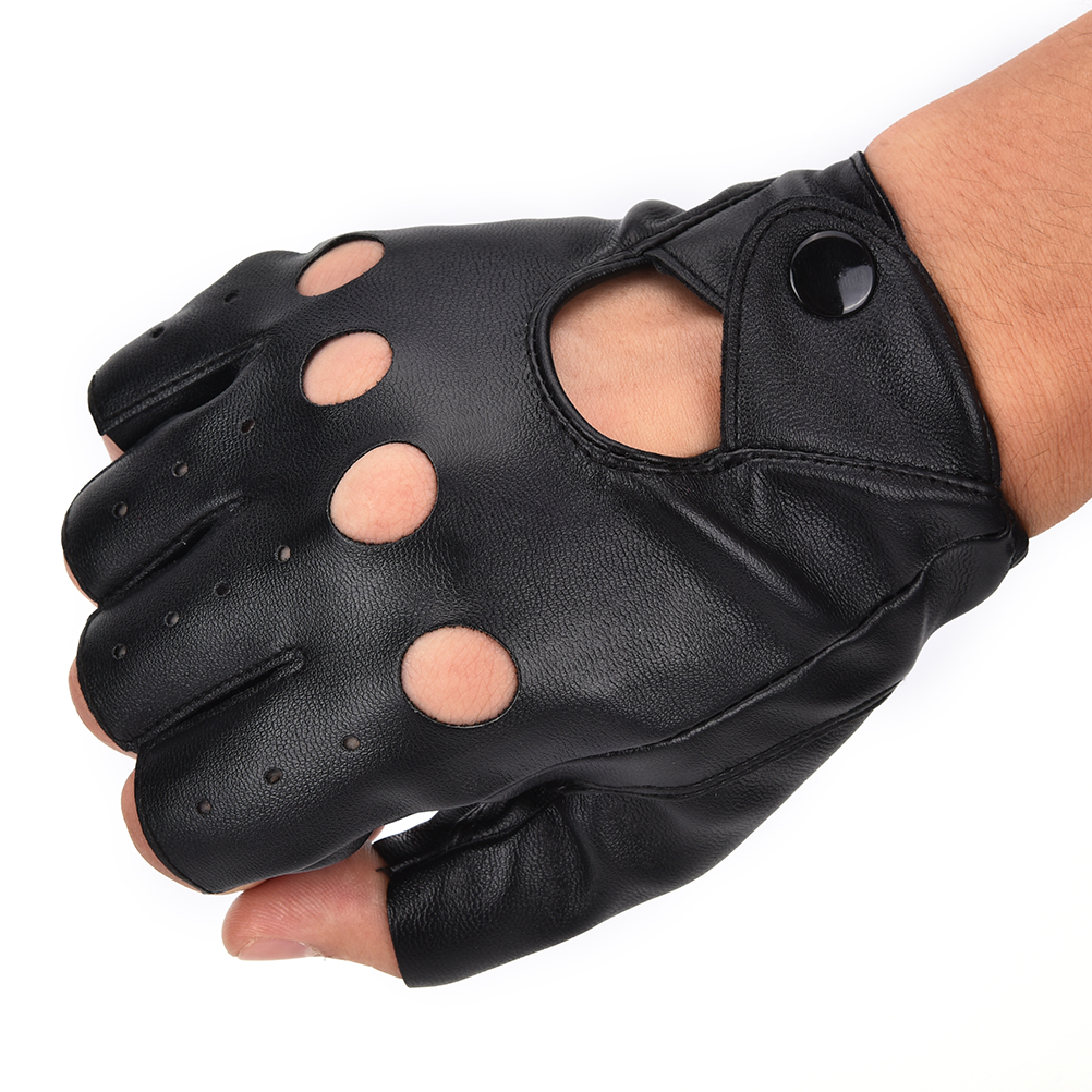 Fashion Half Finger Driving Women Gloves 1 Pair PU Leather Fingerless Black - Ali-Men Clothes store