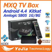 1pc MXQ Amlogic S805 Quad Core KODI TV Box Android 4.4 OS H.265 Supporting Wifi LAN Miracast Airplay HDMI 1G RAM 8G ROM