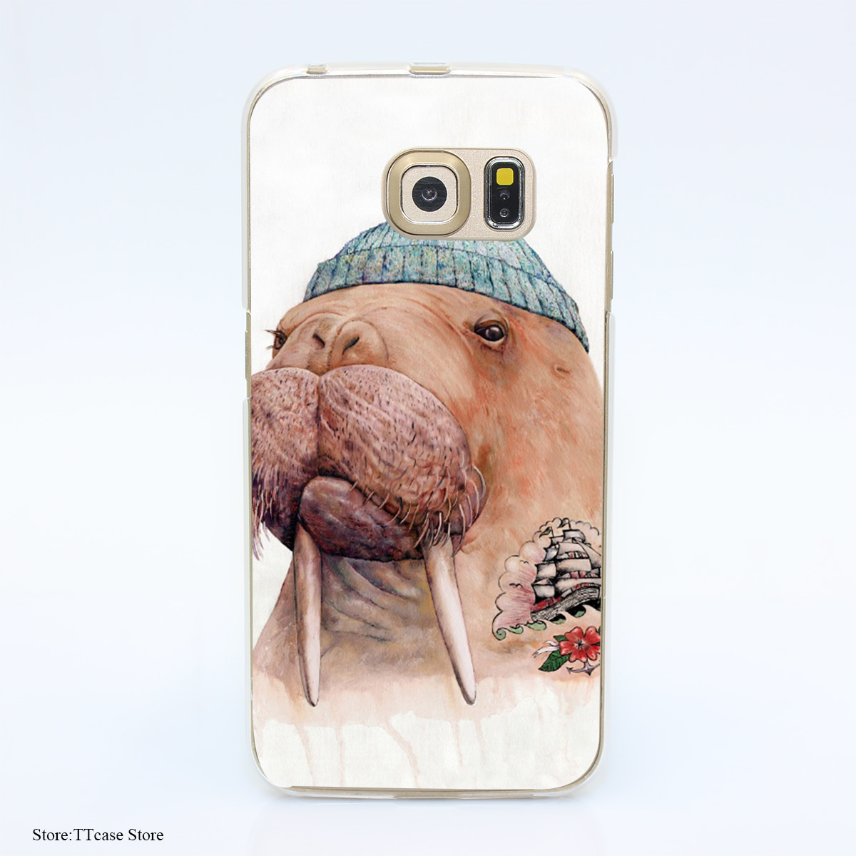 3281G Tattooed Walrus Print Hard Transparent Case Cover for Galaxy S3 S4 S5 & Mini S6 S7 & edge