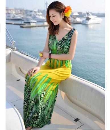 2016 fashion dress maxi women graceful printed beach Bohemian style free size big - COWEE E-Commerce Co., Ltd. store