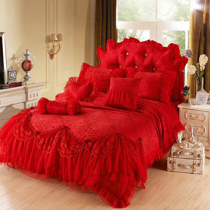 Rosso di lusso jacquard di seta biancheria da letto principessa set 4 pz seta lace ruffles - Gonna letto matrimoniale ...