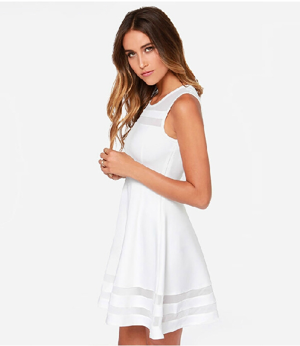 Summer Dress Sleeveless Casual Vestidos Solid Fit And Flare 2016 Women White Chiffon Party Dresses Backless Ball From