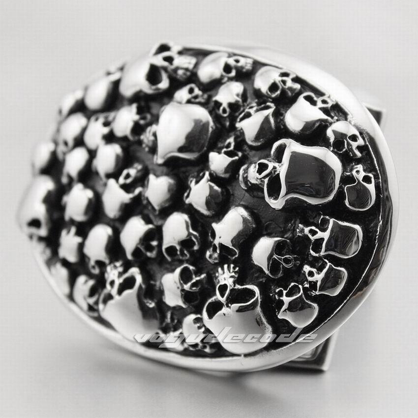 316L Stainless Steel Skulls Mens Biker Rocker Punk Belt Buckle P025 - LINSION Official Store store