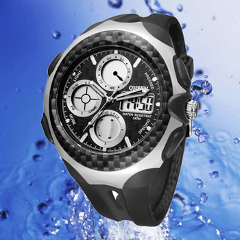 DHL/UPS more than 50pcs Free Shipping OHSEN Men's Fashion Watches, Dual Display,30M Waterproof Diver Sport Watch AD0926-1