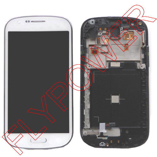 White color lcd with digitizer with frame assembly For Samsung GALAXY EXPRESS I8730 by free shipping